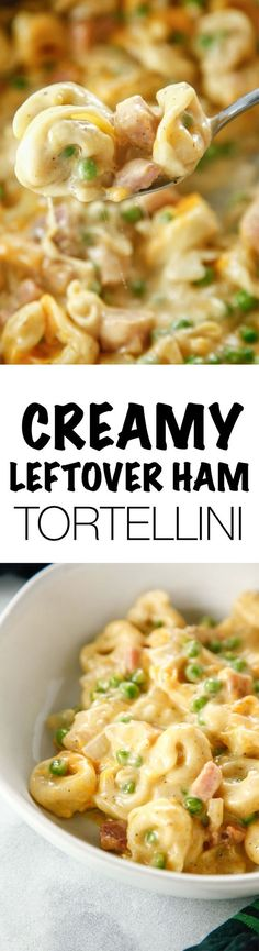 Find a way to use up that leftover ham and create a delicious new dinner recipe. This Creamy Leftover Ham Tortellini meal is perfect for your family! #dinner #leftovers via @thebrooklyncook