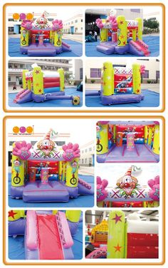 AQ647-2(3.8*2.8m/12.47'*9.19') Happy fun clown bouncer with pop-ups, neat size and good quality perfect to place it on backyard for kids to have fun!
