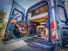 Awesome camper van conversion that fits skis, mountain bikes and tons of adventure! I love how they did this DIY van build and show you the whole process behind the #vanlife design!