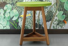 Green Brogue side table with solid walnut base by Bethan Gray for G
