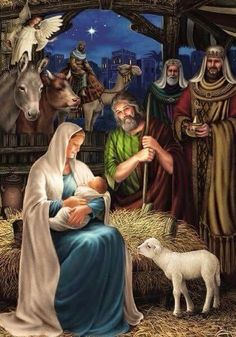 Nativity Scene the birth of Baby Jesus, let us all remember the true meaning of Christmas. Christmas Nativity Scene, Christmas Scenes, Noel Christmas, Vintage Christmas Cards, Christmas Pictures, Nativity Scenes, Christmas Garden, Winter Christmas, Nativity Scene Pictures
