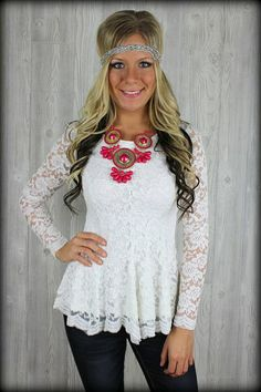 Dreaming of a White Christmas Peplum lace top: Filly Flair