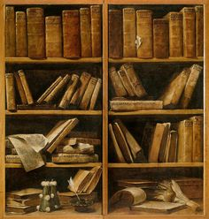 Giuseppe Maria Crespi 'Bookshelves with music books' 1725-30  Oil on canvas Civico Museo Bibliografico Musicale, Italy