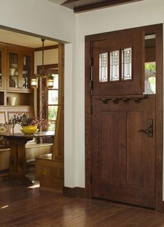 Wood doors have a warm, natural look and come in a variety of species to coordinate with your furnishings. Wooden Dutch doors have the weight you can't find in solid core or hollow core fiberglass doors. Photo courtesy of Jeld Wen