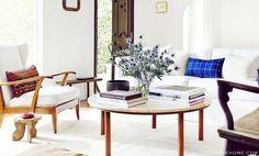 Home Tour: A Rustic California Rental // white, midcentury modern, travertine table, indigo pillow