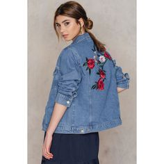 NA-KD Trend Flower Embroidery Denim Jacket ($95) ❤ liked on Polyvore featuring outerwear, jackets, medium wash, colorful denim jackets, denim jackets, colorful jackets, floral embroidered denim jacket and oversized jean jacket