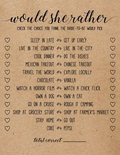 Would She Rather . Would She Rather Bridal Shower Game . Bridal Shower Games - Lilly is Love Bridal Shower Games Prizes, Bridal Shower Planning, Wedding Shower Games, Bachelorette Party Games, Bridal Shower Party, Bridal Party Games, Bridal Shower Questions, Engagement Party Games, Wedding Games For Guests