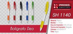 El artículo del día es el SH 1140 Bolígrfao Deo (Mecanismo Pulsador) Conoce más de él en www.promoopcion.com Material: Plástico Medida: 1 x 14 cm Área de impresión: 0.8 x 2.5 cm Técnica de impresión recomendada: Serigrafía Colores: Azul / Negro / Naranja / Rojo / Verde / Amarillo  CONSULTA EXISTENCIAS Y PRECIOS CON TU EJECUTIVA DE CUENTA.