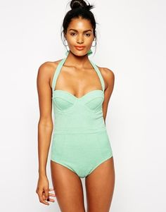 Enlarge ASOS Embossed Floral Cupped Swimsuit