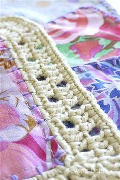 Beekeeper s Quilt Free Pattern Crochet : Adding crochet to fabric squares ~ tutorial (maybe use to ...