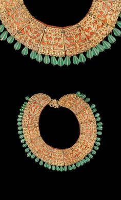 Nepal - Kathmandu | Necklace from the Newar people; gilded silver plates on red satin, green glass pendant beads. // ©Quai Branly Museum. 71.1965.78.73