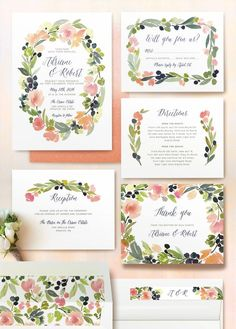 Watercolor wreath wedding invitations by @minted