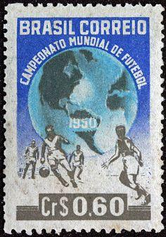 Selo Comemorativo do Campeonato Mundial de Futebol de 1950 (Copa do Mundo de 50).