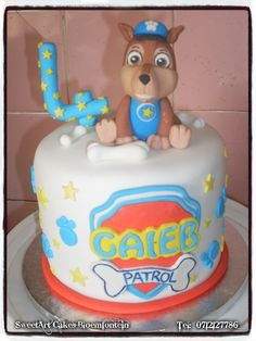 Paw Patrol Cake For more info & orders email SweetArtBfn@gmail.com or call 0712127786. Paw Patrol Cake Toppers, Cupcake Toppers, Sweetarts, Edible Cake, Preserves, Fondant, Icing, Period, Cake Decorating