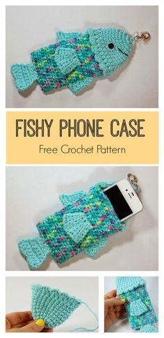 Summertime Fishy Phone Case Free Crochet Pattern #freecrochetpattern #phonecase