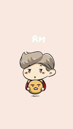 Rapmon x kim namjoon Bts Chibi, Anime Chibi, Namjoon, Seokjin, Wallpapers Kawaii, Desktop Wallpapers, Chibi Wallpaper, Bts Backgrounds, Bts Rap Monster
