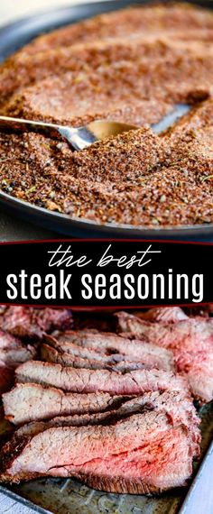 This really is the Best Steak Seasoning for all types of steak! Whether you're opting for a juicy ribeye, a sensible sirloin or the luxurious filet, a little seasoning can go a long way in elevating t Sirloin Steak Recipes, Steak Rubs, Bbq Steak, How To Grill Steak, Ribeye Steak Seasoning Recipe, Steaks On The Grill, Ribeye Steak Marinade, Best Steak Rub, Beef Recipes