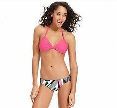 Hula Honey Pink Push Up Reversible Geometric Bikini Swimsuit S Small NWT NEW