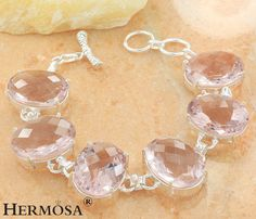 "75% OFF PINK TOPAZ KUNZITE JEWELRY 925 Sterling Silver Chain HOT Bracelet 8.25"" #Hermosa #Chain"