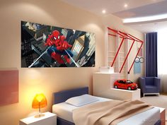 Spidey's in a bedroom.
