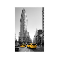 Flatiron Building - Taxi Cabs Yellow - Manhattan - New York City -... ($60) ❤ liked on Polyvore featuring home, home decor, wall art, backgrounds, architecture, diners and cafes, restaurants, subjects, yellow home accessories and nyc wall art