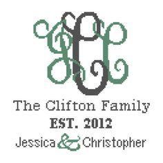 #crossstitch #monogram #pattern #interlockingmonogram #moderncrossstitch #wedding #personalized