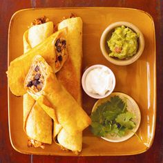Chicken Flautas with Black Beans