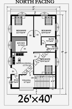 Home Room Design, Home Design Plans, Plan Design, House Design, 2bhk House Plan, Small House Plans, House Floor Plans, 2 Storey House, House Map