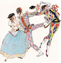 columbine, not sure who the third troubadour is Illustrations, Illustration Art, Pierrot Clown, Costume Carnaval, Theatre Costumes, Clowns, Costume Design, Art Inspo, Vintage Art