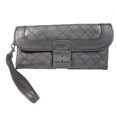 Quilted Pewter Wristlet - This quilted pewter wristlet is perfect for a night out on the town.