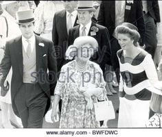 Royal Family Racing Royal Ascot 1986 Prince Andrew Queen Mother (dead 3/2002) And Sarah Ferguson At Royal Ascot. - Stock Image