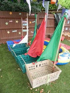 Chapter Large Motor and Outdoor Play. This activity is perfect for outdoor play and to go along with my beach theme. It also encourages children to use their imagination Outdoor Learning Spaces, Outdoor Play Areas, Outdoor Fun, Outdoor Classroom, Outdoor School, Nursery Activities, Outdoor Playground, Outdoor Activities, Eyfs Outdoor Area Ideas