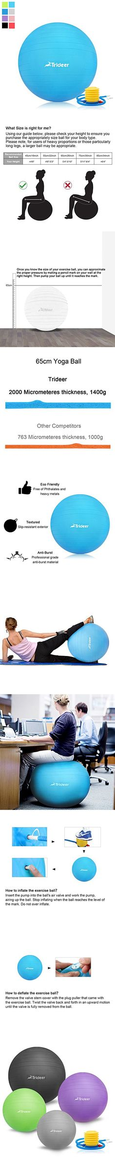 Trideer Anti-Burst Fitness Ball/Exercise ball/Body Balance Balancing Yoga Pilates Swiss Swedish Ball trainer with Pump Plug Kit, for Pilates/Yoga/Core Cross Train/Training/Physical Therapy Floor Workouts, Fun Workouts, At Home Workouts, Balance Ball Exercises, Pilates Workout, Pilates Yoga, Workout Stations, Birthing Ball, Trampoline Workout