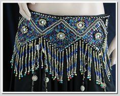 beaded belt in brilliant blues!