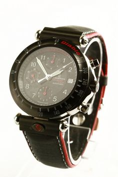 ACharriol Diablo SVR gents steel watch with automatic movement and leather strap. Featuring black dial. Date displayed at position 3