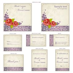 Set of 8 vector wedding invitation templates and cards with decorative ornaments (include invitation cards, place card, reception card, RSVP, thank you, save the date and wine labels). Format: EPS, Ai stock vector clip art. Free for download. Vector set…
