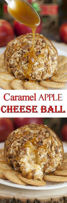 Quick & easy Caramel Apple Cheese Ball recipe works for a holiday appetizer idea, snack OR holiday dessert! This sweet and salty treat would be perfect for a potluck or party.