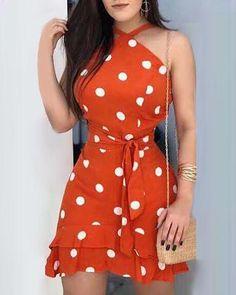 Polka Dots Print Tie Waist Ruffle Hem Dress Shop- Women's Best Online Shopping - Offering Huge Discounts on Dresses, Lingerie , Jumpsuits , Swimwear, Tops and More. Women's Fashion Dresses, Casual Dresses, Floral Dresses, Mini Dresses, Fall Dresses, Simple Dresses, Casual Outfits, Polka Dot Print, Polka Dots
