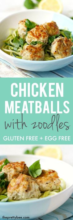 Chicken meatballs with zoodles is a tasty and easy dinner that everyone loves!