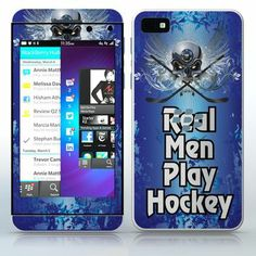 Real Men Play Hockey  Blue background with winged skull  phone skin sticker for Cell Phones / Blackberry Z10 | $7.95