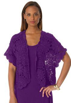 Shrug Cardigan in Crochet   Plus Size New Tops & Sweaters   Jessica London