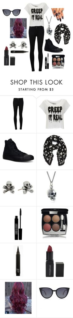 """""""When You're Ready For Halloween"""" by crazybacon9 ❤ liked on Polyvore featuring Citizens of Humanity, Paul's Boutique, Converse, Alexander McQueen, King Baby Studio, Black Pearl, Lord & Berry, Chanel, Smashbox and Fendi"""