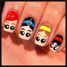 Cool Nail Art Designs For Kids - Nails Update Image Simple Nail Art Designs, Cute Nail Designs, Easy Nail Art, Cool Nail Art, Nail Designs For Kids, Fancy Nails, Love Nails, Disney Princess Nails, Disney Princesses