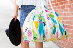 DIY steps to paint and sew a weekender bag (can I do this? Maybe...)