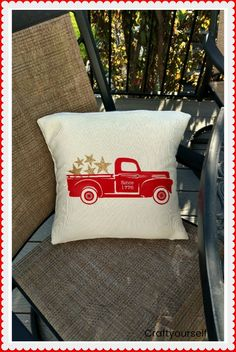 Vintage Fourth of July Glitter Star Truck Pillow - Craft