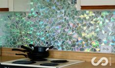 She cut all of the CDs into little pieces and put them in the kitchen to make THIS!