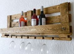 Handmade Rustic Industrial Wine Rack with Glass Holder Recycled Pallet in Home…