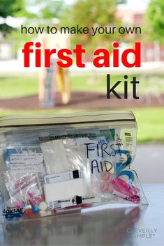 It is cheaper and easier to make your own small homemade first aid kit for kids.  Make one for your car, for camping, college, travel or any emergency.