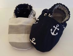 Navy Anchor/grey stripe reversible baby booties!  Etsy page: https://www.etsy.com/shop/ItsyBitsyBooties?ref=search_shop_redirect