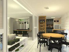 Varanda Gourmet  Neste projeto integramos a sala de estar, sala de TV e a cozinha. Para dar uma identidade única aos ambientes usamos a cor preta e a madeira peroba em todos os espaços.